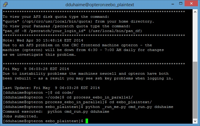 Screenshot showing command to submit batch processing command to the SGE cluster.