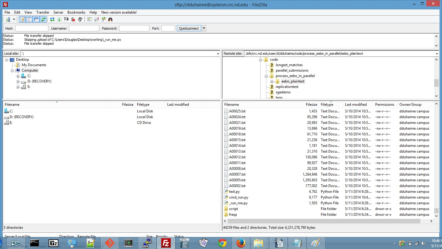 Screenshot showing all files required for batch processing on SGE.