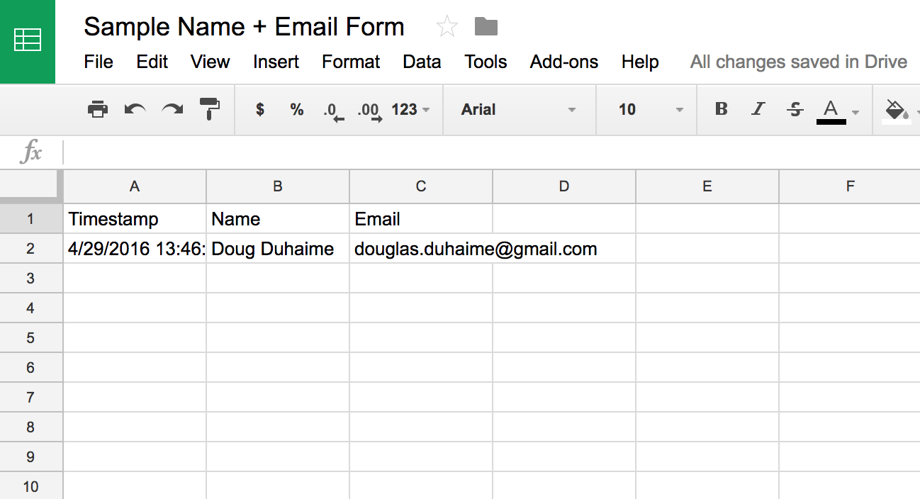 Google Sheet with data received from POST request