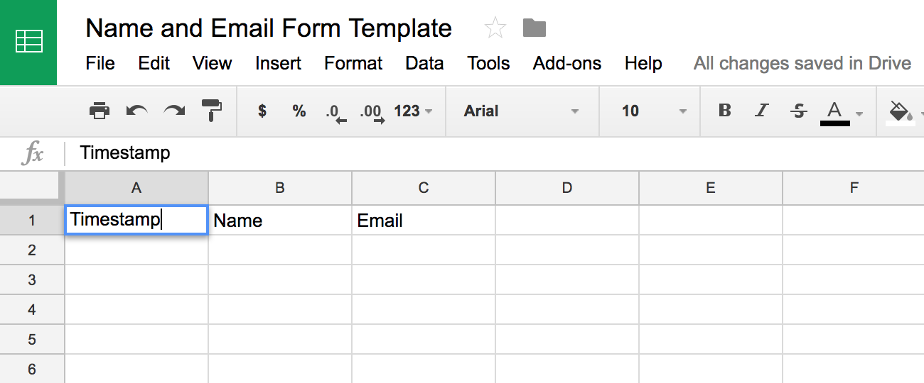 Google Sheets template in which data sent through POST requests will be kept