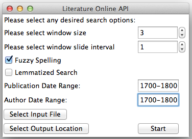 Screenshot of the Literature Online API GUI compiled with Tkinter.